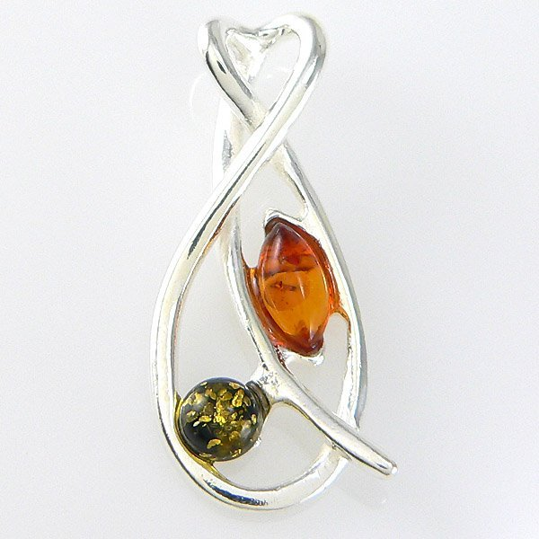41657: WINDSOR-STERLING Cognac and Green Amber Pendant
