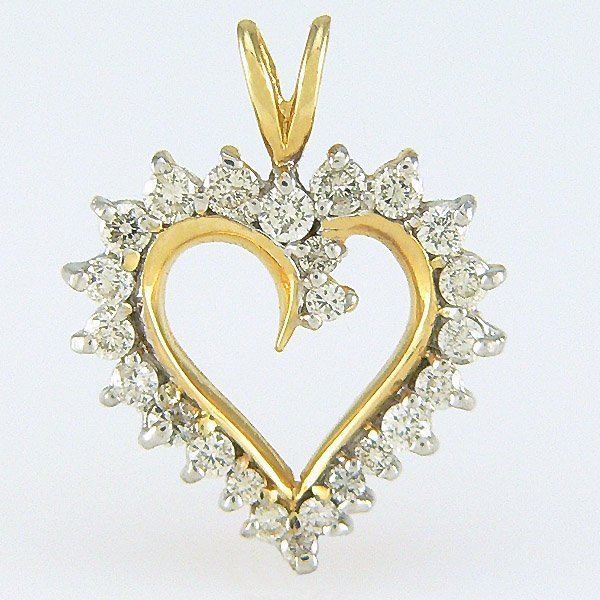 1018: 14KT DIAMOND 20x15mm HEART PENDANT 0.50TCW