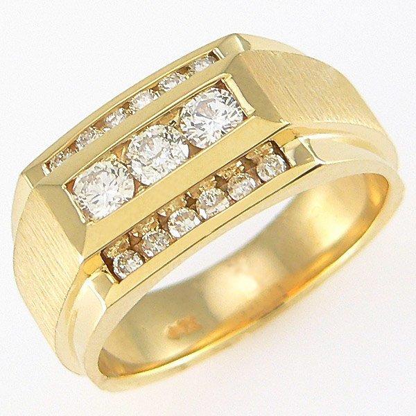 12087: 14KT MENS DIAMOND RING SZ 9.5 0.75TCW