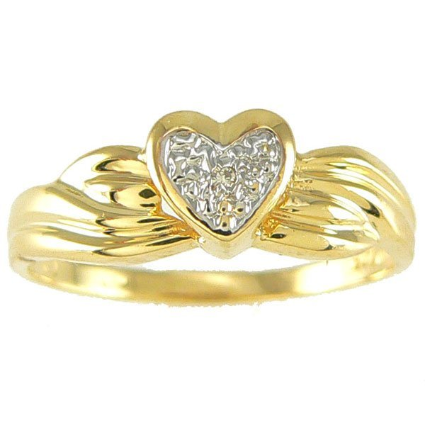 4044: 14KT DIAMOND HEART RING 0.01TCW SZ 7