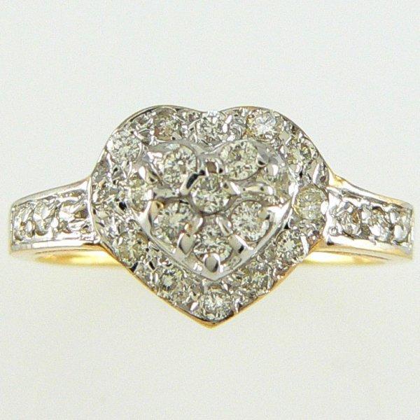 4048: 14KT DIAMOND DOUBLE HEART RING 0.50TCW SZ 7
