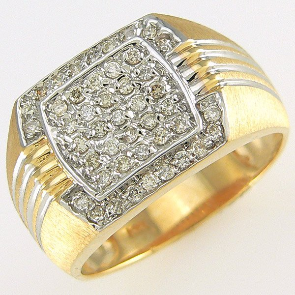 31518: 14KT MEN'S DIAMOND RING SZ 10.5 0.45TCW
