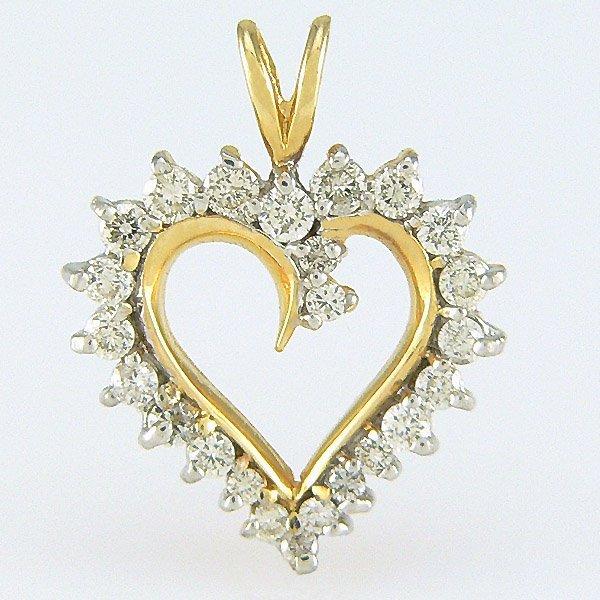 5018: 14KT DIAMOND 20x15mm HEART PENDANT 0.50TCW
