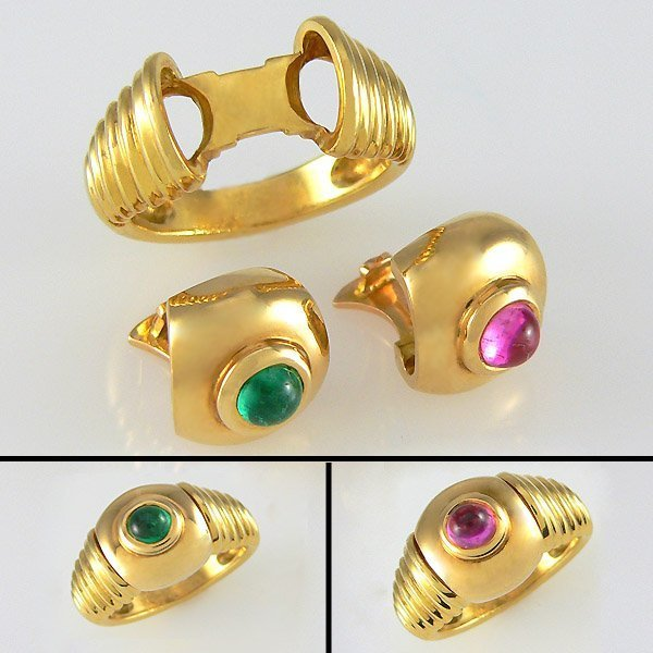 52439: FRED PARIS 18KT INTERCHANGEABLE  6.25 RING