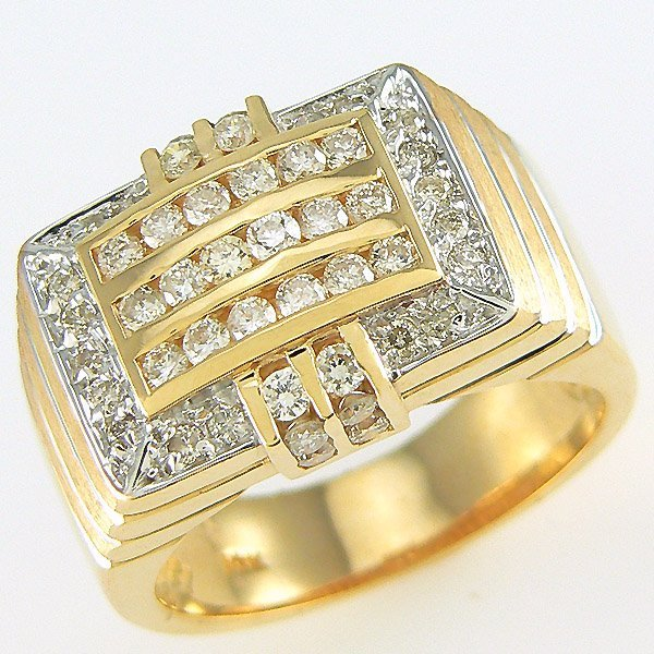 41711: 14KT MENS DIAMOND RING SZ 10.5 1.35TCW