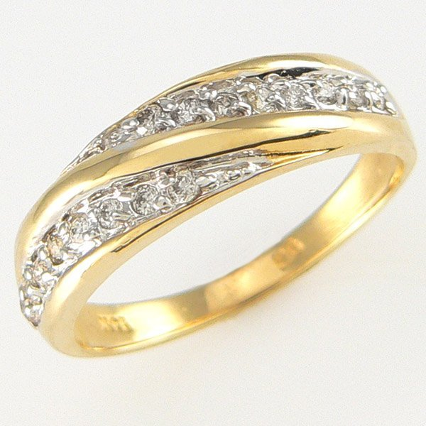 1004: 14KT DIAMOND WEDDING BAND 0.16TCW SZ 7