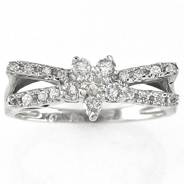 1019: 14KT DIAMOND FLOWER RING 0.40CTS SZ 7
