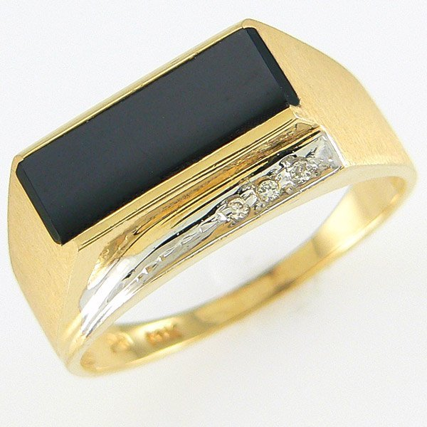 1021: 14KT MEN'S DIA ONYX RING SZ 10 0.68TCW