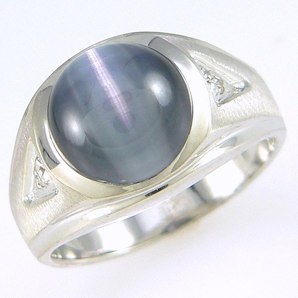 1065: 14KT MEN'S DIA CAT'S EYE RING SZ 9.5 3.66TCW