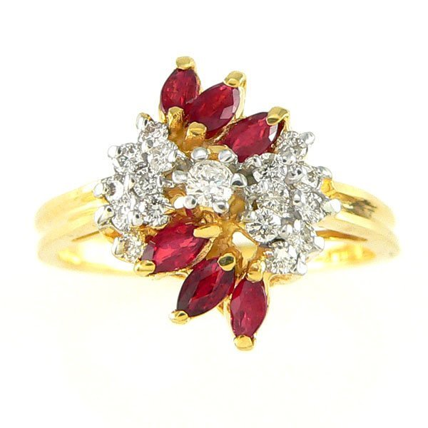 1003: 14KT MARQUISE RUBY DIAMOND RING 0.70TCW SZ 7