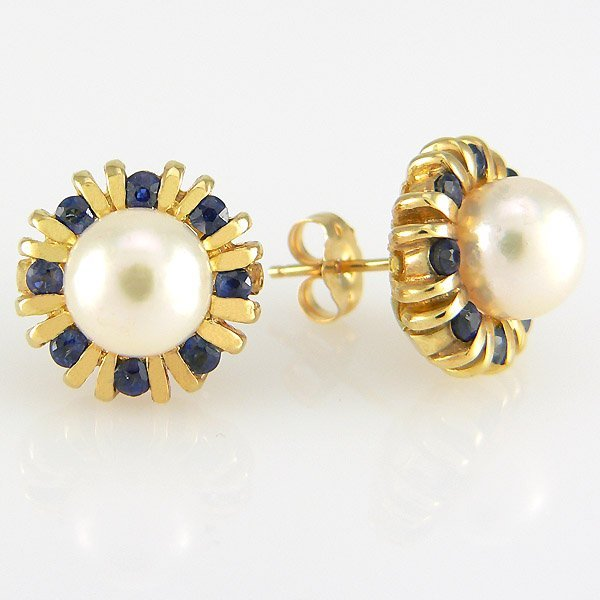 11652: 14KY 8MM PEARL SAPH-2MM STUD EARRINGS 13MM