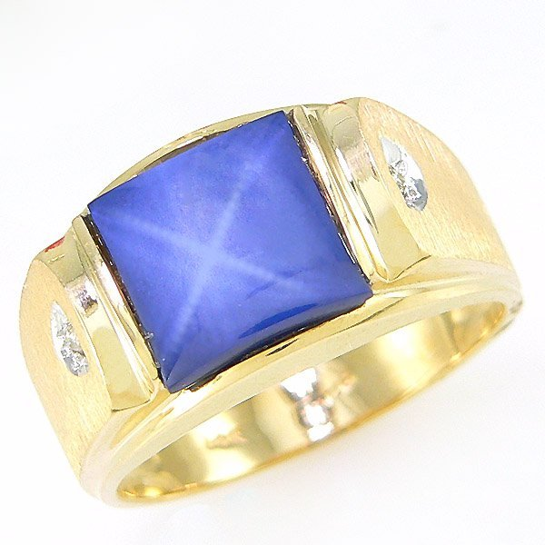 1174: 14KT MEN'S DIA STAR SAPH RING SZ 10 2.92TCW
