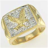 51182: 14KT MEN'S DIAMOND EAGLE RING SZ 10 0.10TCW