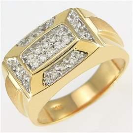 51448: 14KT MEN'S DIAMOND RING SZ 10.5 0.30TCW