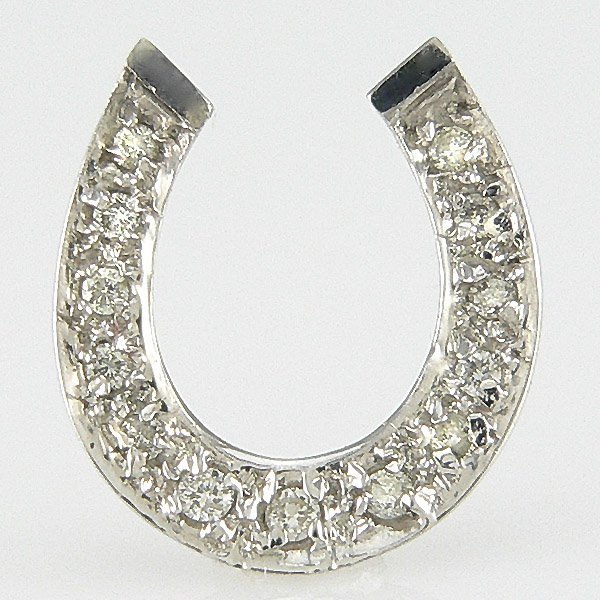 11617: 14KT DIAMOND HORSESHOE PEND 0.15TCW 15x13MM