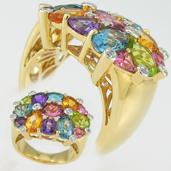 1017: 14KT MULTI GEM STONE RING 6 + CARATS SZ 7