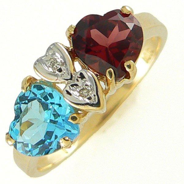 4112: 14KT BLUE TOPAZ GARNET DIAMOND RING 1.63TCW SZ 7