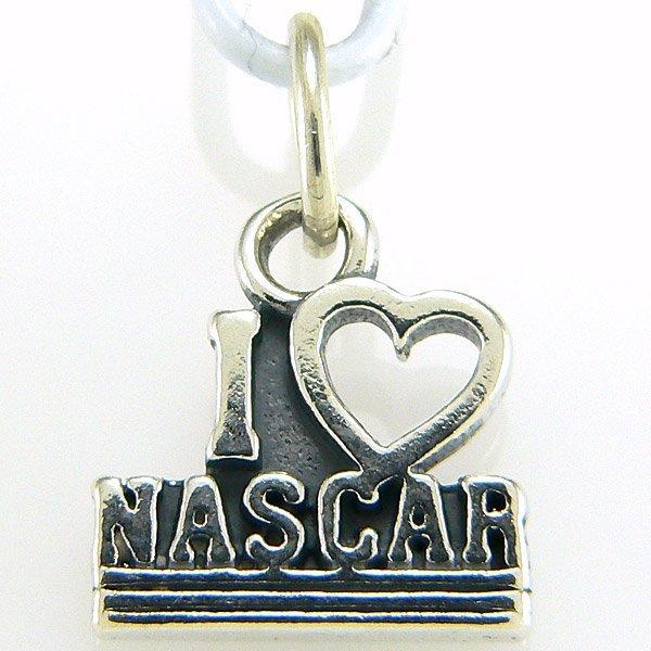 """11286: WINDSOR STERLING """"I LOVE NASCAR"""" CHARM .925 SS"""