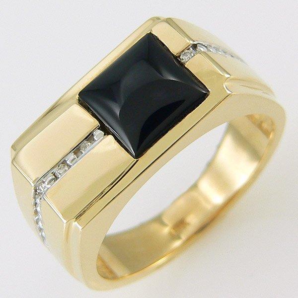 11287: 14KT MENS DIAMOND ONYX RING 0.94 TCW
