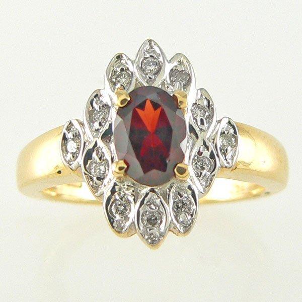11292: 14KT GARNET DIAMOND RING 0.83TCW SZ 7