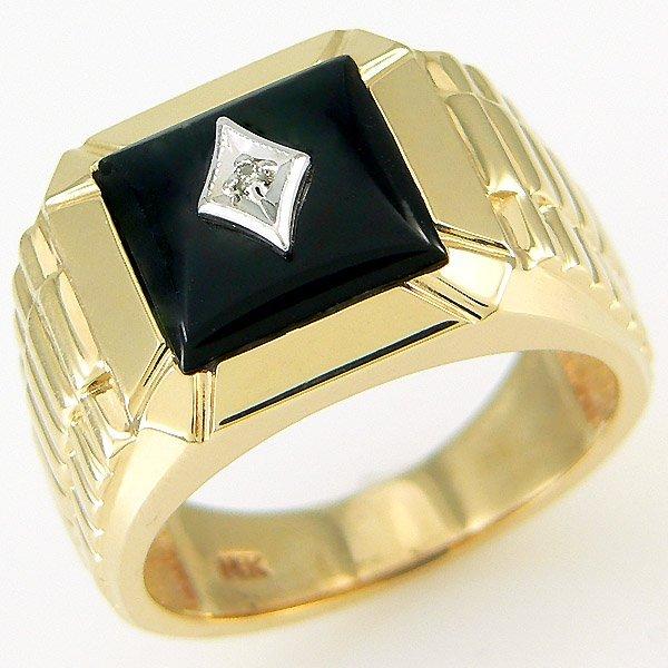 11300: 14KT MENS DIAMOND ONYX RING 1.74 TCW