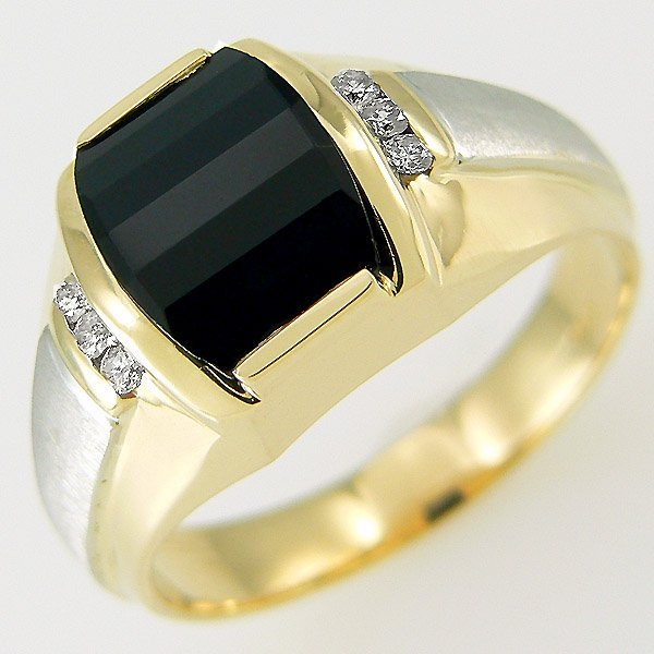 11307: 14KT MENS DIAMOND ONYX RING 1.84 TCW