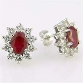 310076: 14KT RUBY DIAMOND EARRINGS 2.90CTS