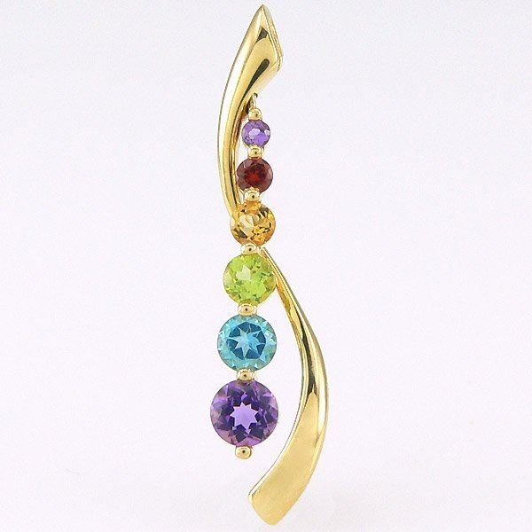 410001: 10KT MULTI GEMSTONE JOURNEY PENDANT 0.73TCW