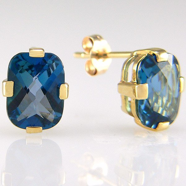 410069: 10KT OCEAN BLUE TOPAZ EARRINGS 3.40CTS