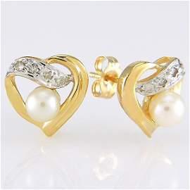 130619: 14KT PEARL DIAMOND EARRINGS 0.06TCW