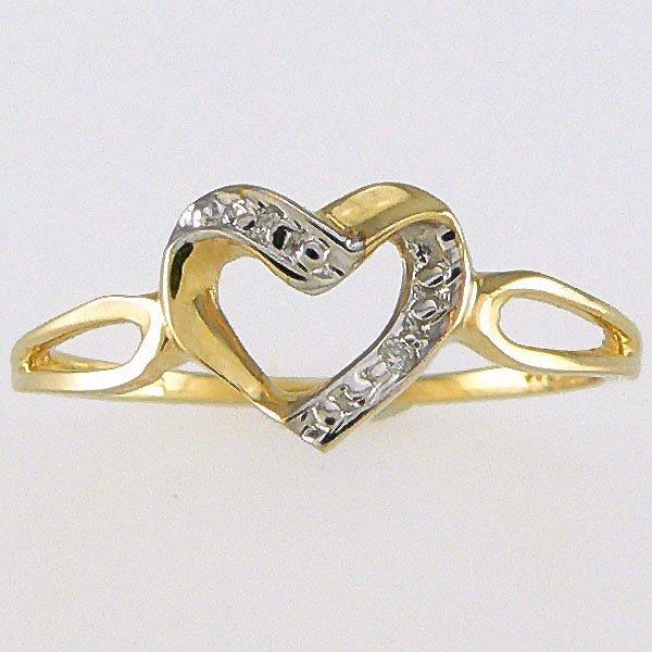 530283: 14KT DIAMOND HEART RING 0.01TCW SZ 7