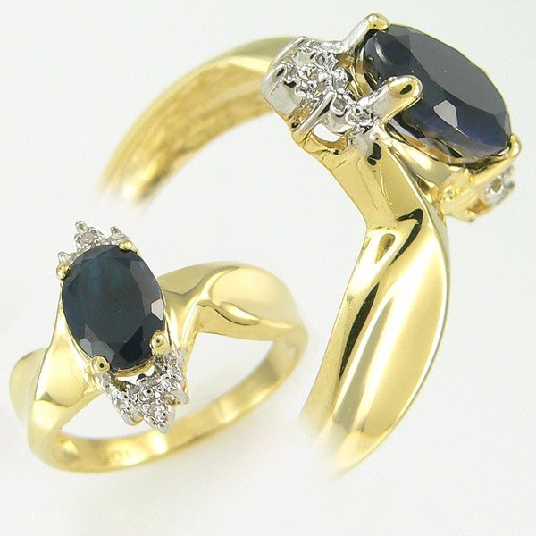 1007: SAPPHIRE & DIAMOND RING 1.79 CTW 10KT.GOLD