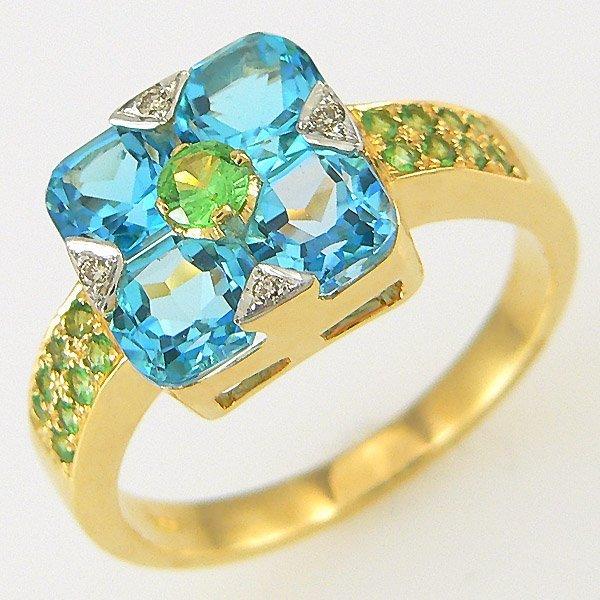 1008: BLUE TOPAZ DIAMOND TSAVORITE RING 2.94TCW 18KT SZ
