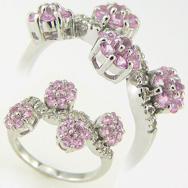 1010: PINK SAPPHIRE DIAMOND RING 1.05TCW 18KT SZ 7