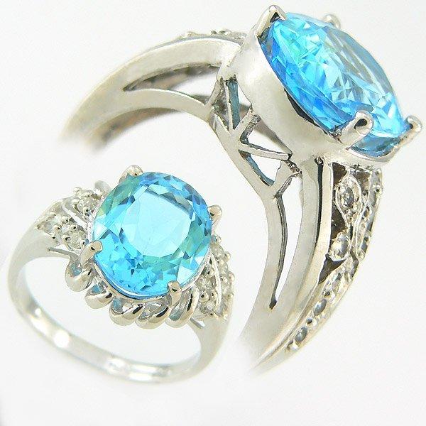 1019: BLUE TOPAZ & DIAMOND RING 7.15CTW 10KT.