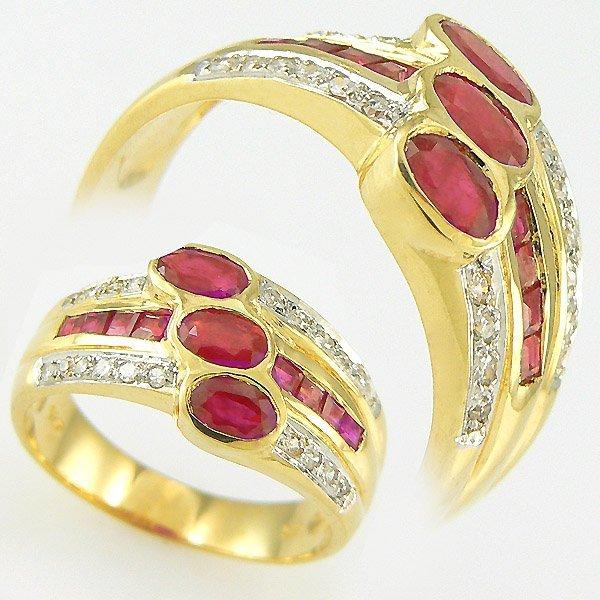1025: RUBY & DIAMOND RING 1.42TCW 14KT SZ 7
