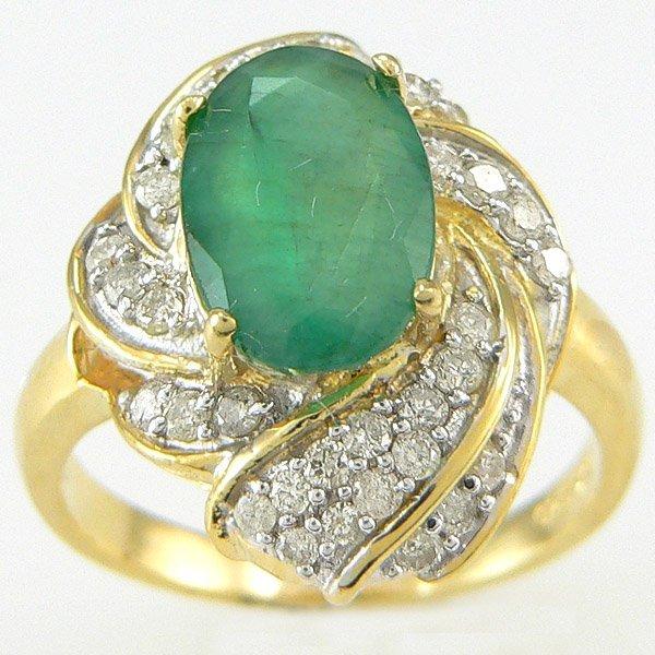 1003: EMERALD & DIAMOND RING 3.29 CTW 14KT. GOLD