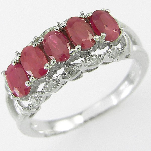 1011: RED RUBY & DIAMOND RING 2.0CTW  10KT. GOLD