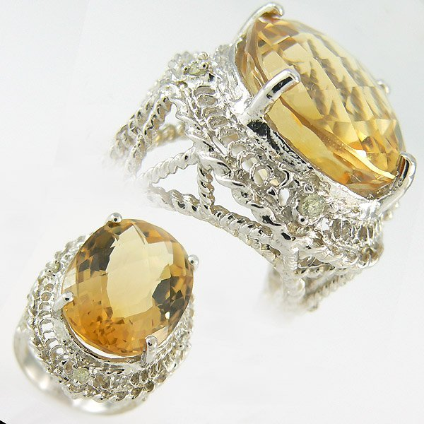 3024: DIAMOND & CITRINE LADIES RING 16.59 CTW 10KT.