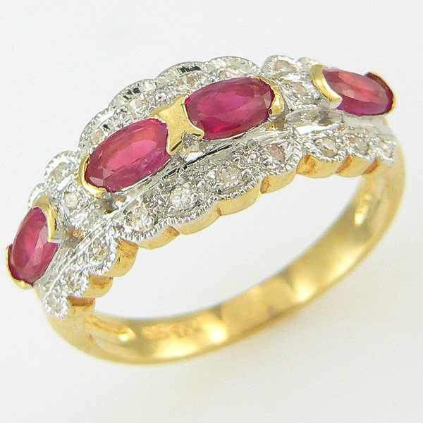 5018: RUBY & DIAMOND RING 1.68TCW 14KT SZ 7.5