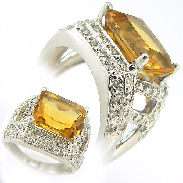 111054: DIAMOND & CITRINE LADIES RING 5.00 CTW 14KT.