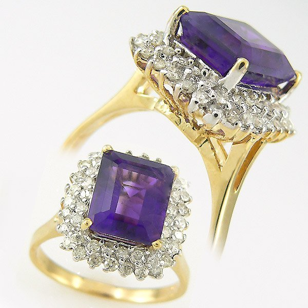 2289: DIAMOND & AMETHYST RING 4.75 CTW 14KT.GOLD