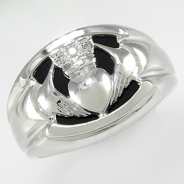 220214: 14KT MEN'S DIA ONYX CLADDAGH RING SZ 9.5 0.02TC