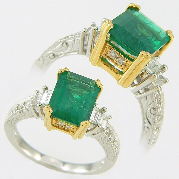 4227: EMERALD & DIAMOND RING 2.65TCW 18KT SZ 7