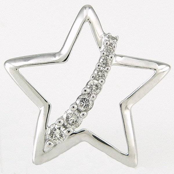400046: 10KT DIAMOND STAR PENDANT 0.20CTS