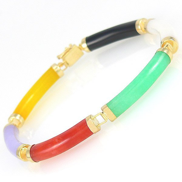 400006: 14KT MULTI COLOR JADE BRACELET 7IN