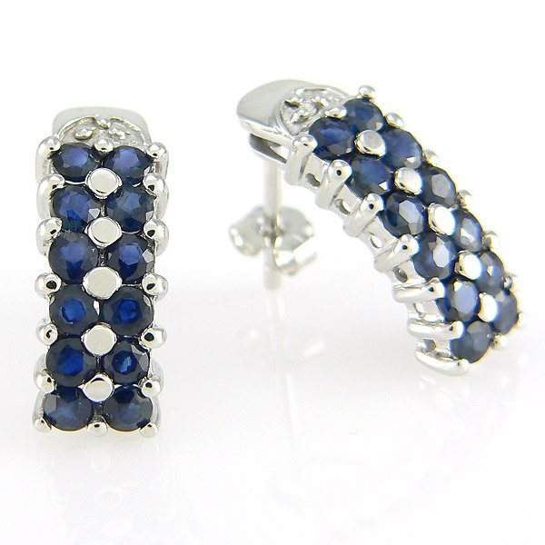 101553: 14KW DIA SAPH-2MM STUD EARRINGS 20X7MM