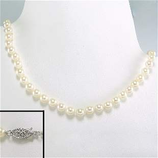 """10KW 6-6.5MM AKOYA PEARL NECKLACE 18"""""""