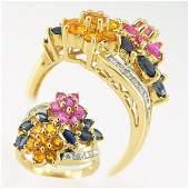 500195: 14KT MULTI SAPPHIRE DIAMOND RING 1.62CTS SZ 7