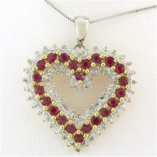 10KT RUBY & DIAMOND HEART 1.42TCW